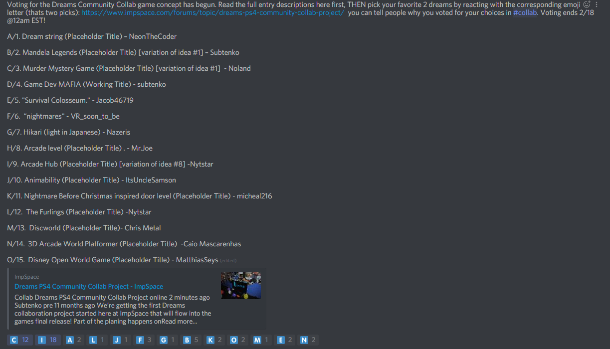 Discord Collab1 Vote Impspace Any time a game is rejected for being trivial it is always suggested that a google doc / discord be kept until the game gains notoriety. discord collab1 vote impspace